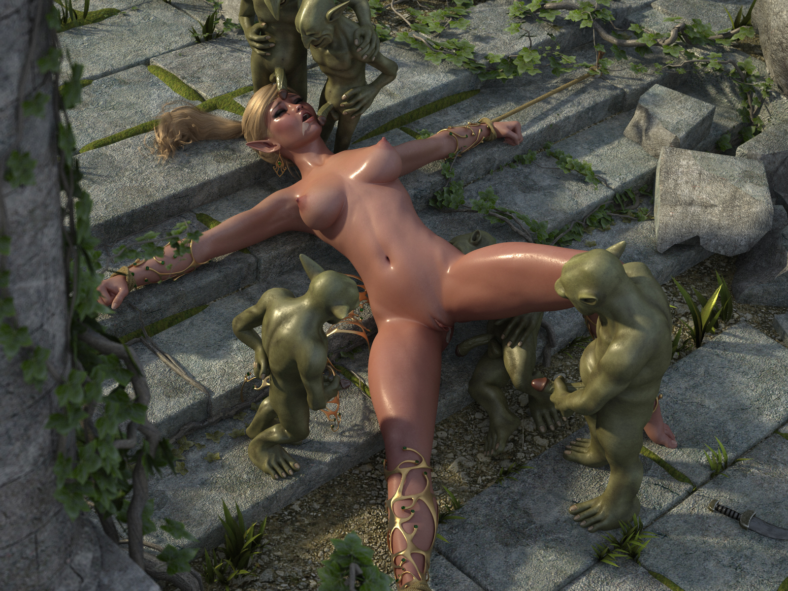 Orcs gang rape elf girl naked scene